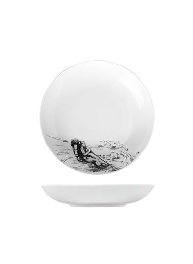 Kütahya Porselen Centilmen Serisi Çukur Tabak Dağcı Renkli